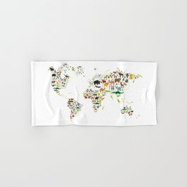 Cartoon animal world map for children and kids, Animals from all over the world on white background Hand & Bath Towel