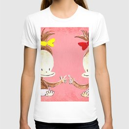 Two Baby Ape Girls on Pink T-shirt