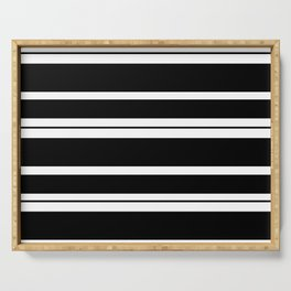 Black And White Stripes Serving Tray