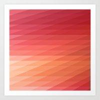 Fig. 044 Coral, Pink & Peach Geometric Diagonal Stripes Art Print