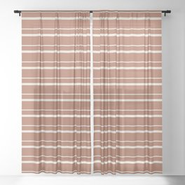 Sherwin Williams Creamy Off White SW7012 Horizontal Line Patterns 3 on Cavern Clay Warm Terra Cotta Sheer Curtain
