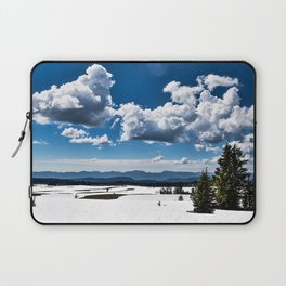 Cloudy Snowy Open Ladscape - Crater Lake National Park, Oregon Laptop Sleeve