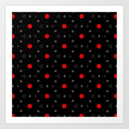 Red Grey Black Multi Pattern Art Print