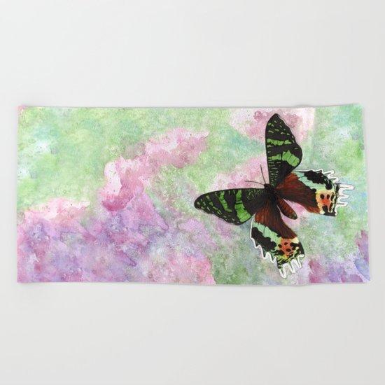Urania Ripheus Butterfly Beach Towel