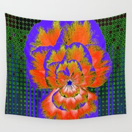 GREEN ABSTRACT MODERN ART PURPLE-ORANGE PANSY Wall Tapestry