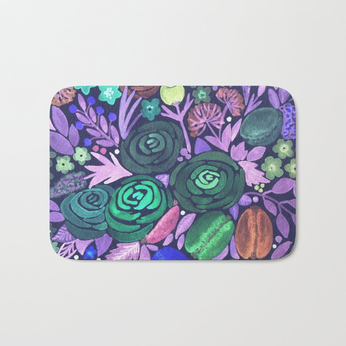 Watercolor . French cake in the colors . Bath Mat