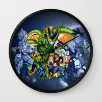 dbz Wall Clocks featuring DBZ - Cell Saga by Mr. Stonebanks