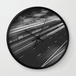 Seattle at Night - Black and White Wall Clock
