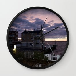 purple sunset in lbi Wall Clock