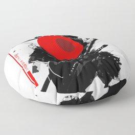 Red Hat Samurai Cyberpunk Urban Futurist Style  Floor Pillow