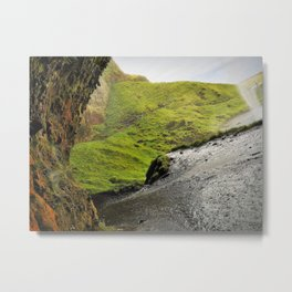 Behind Seljalandsfoss Waterfall in Iceland (2) Metal Print