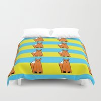 mr fox Duvet Covers featuring Mr Fox by RoyaleWithCheese