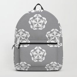 Gray Floral Checkered geometric pattern Backpack
