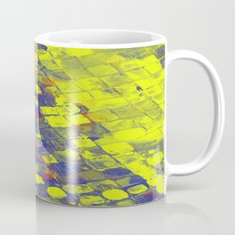 Take The First Step - Abstract, blue and yellow pattern Coffee Mug
