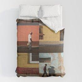 Cuba Men Walking  - Vertical Comforters