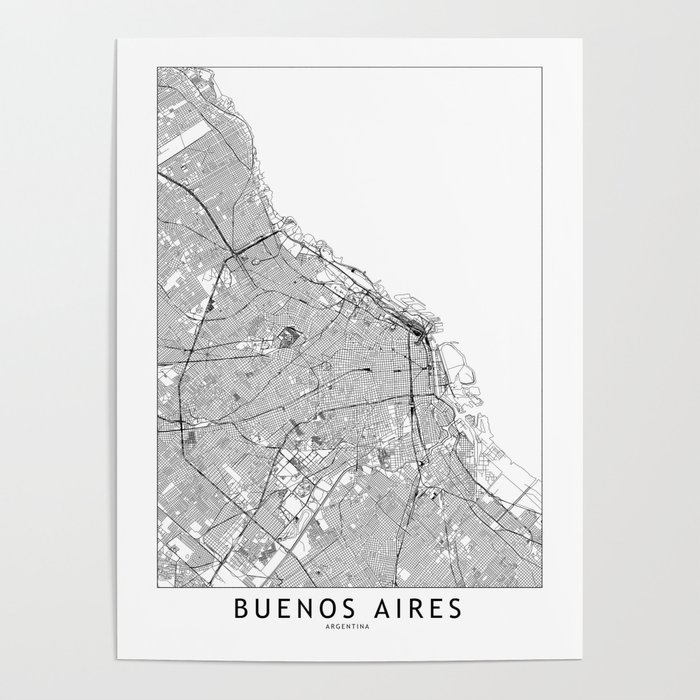 Buenos Aires White Map Poster