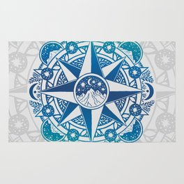 Journey to Moon Mountain | Turquoise Navy Ombré Rug
