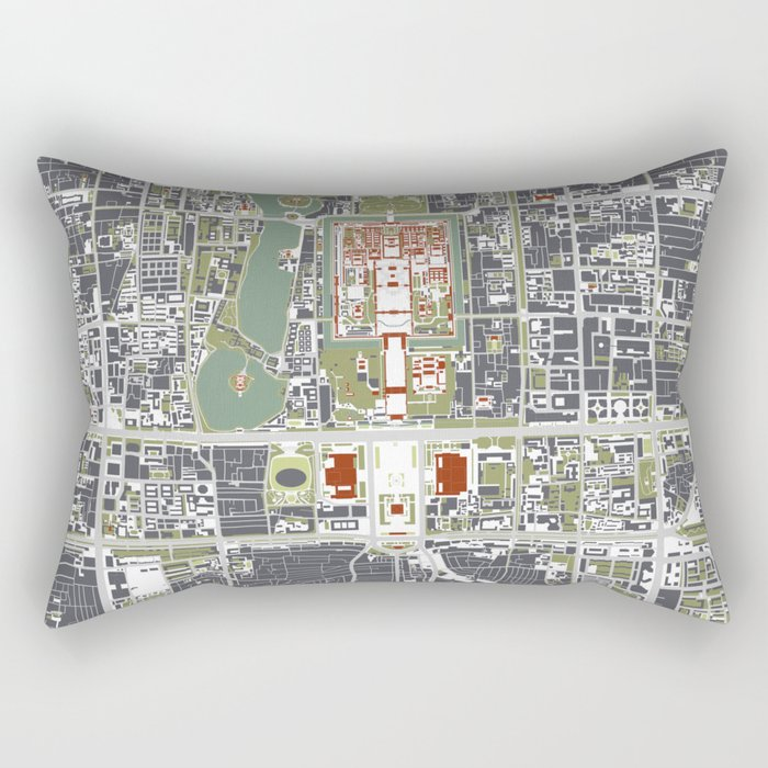 Beijing city map engraving Rectangular Pillow