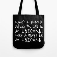 unicorns Tote Bags featuring unicorns! by sreysa'art