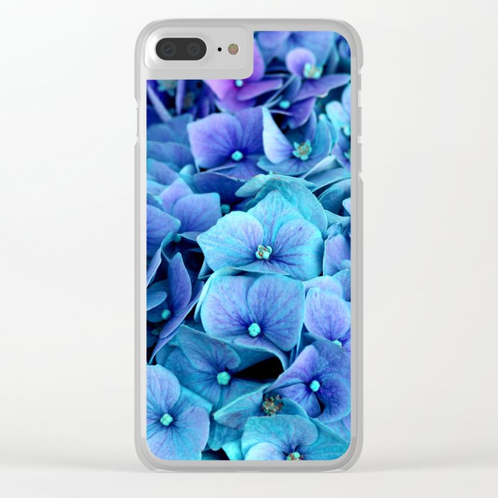 Purple Blue hydrangea Clear iPhone Case