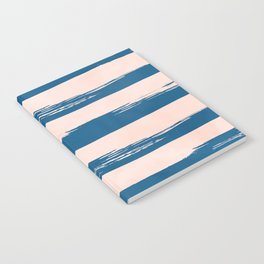 Trendy Stripes - Sweet Peach Coral on Saltwater Taffy Teal Notebook