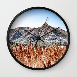 Flatirons Boulder // Colorado Mountain Scenery Green Red Blue Landscape Photograph Wall Clock