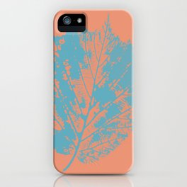 Autumn leaf blue iPhone Case