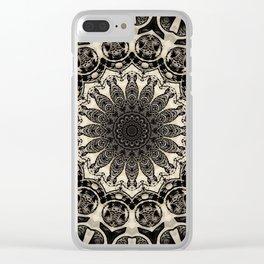 Neutral Abstract Black Ink Bohemian Mandala Clear iPhone Case