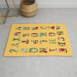 Floral Alphabet in Yellow Rug
