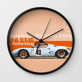GT40 at Sebring Wall Clock