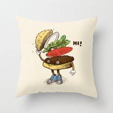 Burger Greeting Throw Pillow