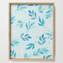Tropical Turquoise Leaves - light blue Serving Tray