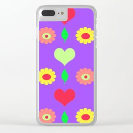 Purple daisy and heart all over print Clear iPhone Case