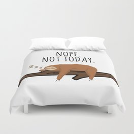 Nope. Not Today! Funny Sleeping Sloth On A Branch Gift Duvet Cover