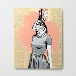 Rabbit Head Metal Print