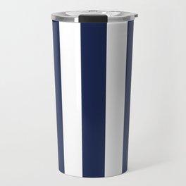 Space cadet blue - solid color - white vertical lines pattern Travel Mug