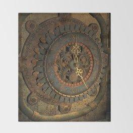Steampunk, awesome clock, rusty metal Throw Blanket