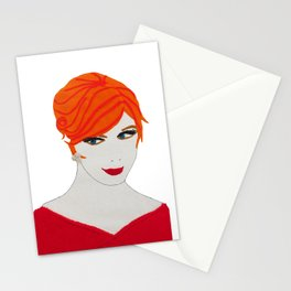 joan of madmen in red Stationery Cards