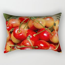 Cherries in a Basket Close Up Rectangular Pillow