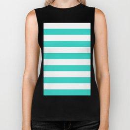 Horizontal Stripes - White and Turquoise Biker Tank