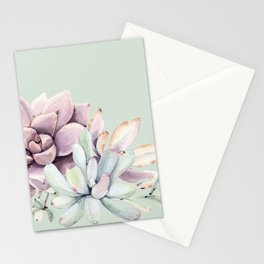 Beautiful Mint Succulents Stationery Cards