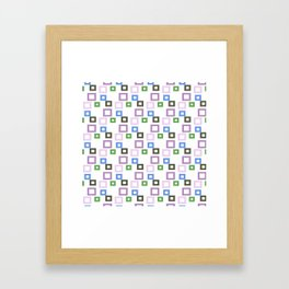 Geometrical lilac lavender blue forest green squares pattern Framed Art Print