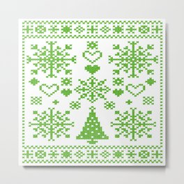 Christmas Cross Stitch Embroidery Sampler Green And White Metal Print