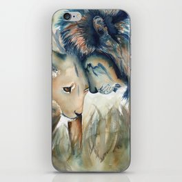 Watercolor Lion and Lioness iPhone Skin