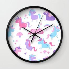 Fun Unicorns pattern Wall Clock