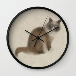Cat in the cold Wall Clock