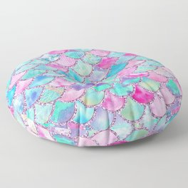 Colorful Pink and Blue Watercolor Trendy Glitter Mermaid Scales  Floor Pillow