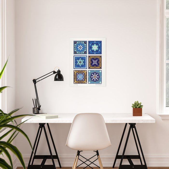 Talavera Mexican Tile – Navy & Bronze Palette Poster