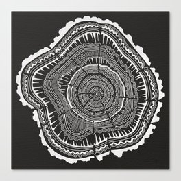 Growth Rings – 65 Years – Black Canvas Print
