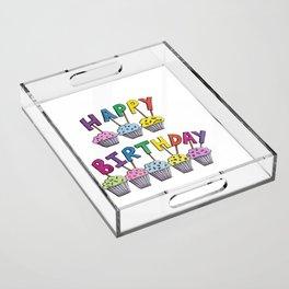 Happy Birthday Cupcakes Acrylic Tray